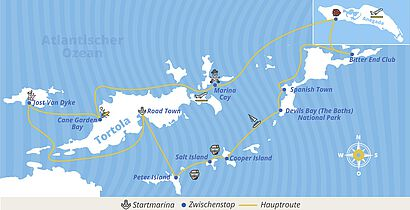 Route in den British Virgin Islands